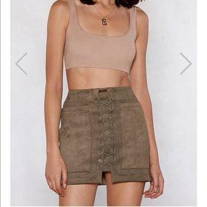 NWT nasty gal khaki skirt. Size M